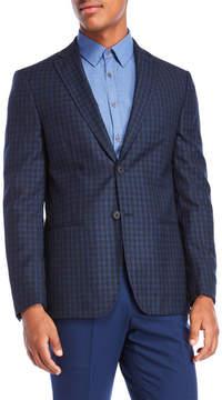 DKNY Blue Checkered Wool Sport Coat