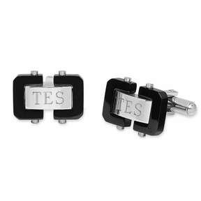 Asstd National Brand Personalized Two-Tone Stainless Steel Cuff Links