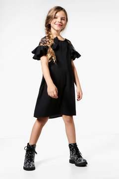 boohoo Girls Lace Insert Ruffle Dress