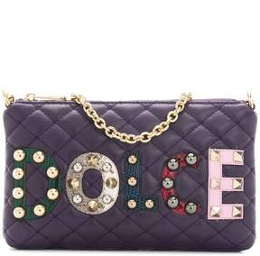 Dolce & Gabbana mini quilted shoulder bag with patch appliqués - PINK & PURPLE - STYLE