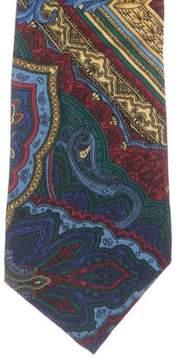 Gianni Versace Ornate & Paisley Print Silk Tie