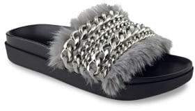 KENDALL + KYLIE Sammy Chain & Faux Fur Pool Slides