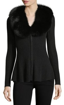Neiman Marcus Luxury Cashmere Zip-Front Cardigan w/ Fox Fur Collar
