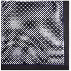 BOSS Geometric-pattern silk pocket square