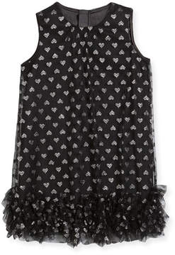 Milly Minis Tessa Embroidered Hearts Tulle Ruffle Trapeze Dress, Size 4-7