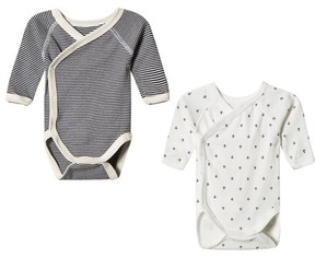 Petit Bateau White and Grey) 2 Pack Bodies
