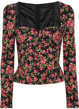 Dolce & Gabbana Roseline Floral-print Crepe Bustier Top - Pink