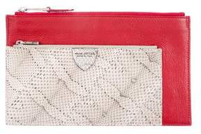 Marc Jacobs Snakeskin-Trimmed The Doll Clutch - RED - STYLE