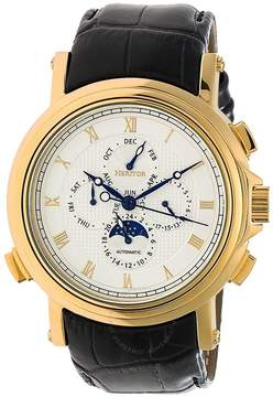 Heritor Kingsley White Engraved Pattern Moonphase Dial Black Leather Strap Automatic Men's Watch