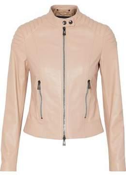 Belstaff Ribbed-Paneled Leather Biker Jacket