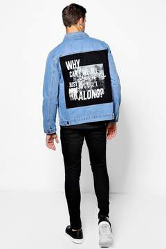 boohoo Mid Blue Denim Jacket With Photo Back Print