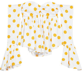 Caroline Constas Off-the-shoulder Polka-dot Cotton-blend Poplin Top - Yellow