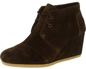Toms Women's Desert Wedge Suede Chocolate Brown Ankle-High Suede Pump - 9M