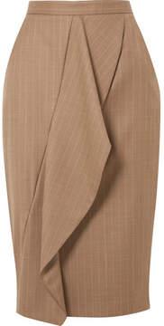 Max Mara Draped Pinstriped Wool-blend Pencil Skirt - Beige