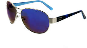 Oscar de la Renta O By Aviator Combo Sunglasses, Shiny Silver/Blue Demi