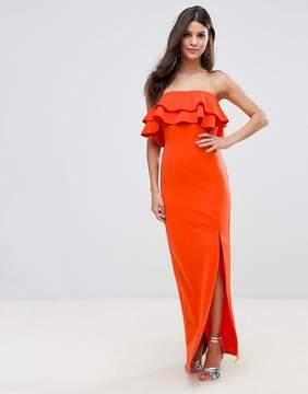 Club L Bandeau Frill Maxi Dress With Ruffle Asymetric Split