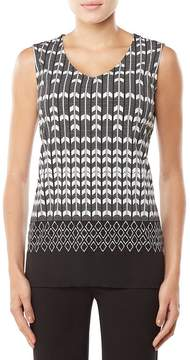 Allison Daley Sleeveless Chiffon Trim Tribe Stripe Print Tunic