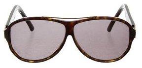 Saint Laurent Tortoiseshell Shield Sunglasses