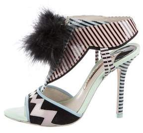Sophia Webster Striped Feather Pom-Pom Sandals