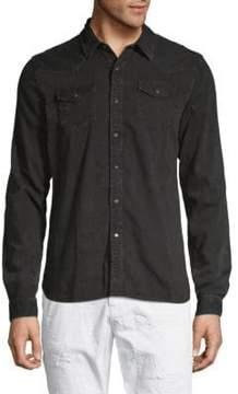 Scotch & Soda Ams Blauw Classic Western Cotton Button-Down Shirt