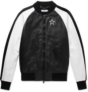 Givenchy Satin-Panelled Leather Bomber Jacket