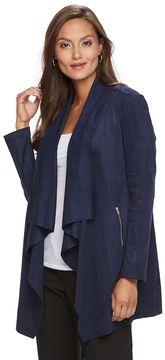 Dana Buchman Women's Faux-Suede Open-Front Jacket