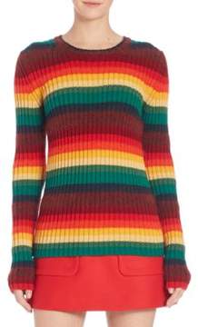 N°21 Striped Pullover Knit Virgin Wool Top