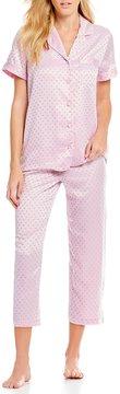 Cabernet Dot Jacquard Satin Cropped Pajamas