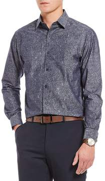 Hart Schaffner Marx Chambray Large Paisley Long-Sleeve Sportshirt