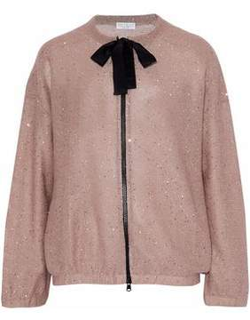 Brunello Cucinelli Bow-Detailed Sequined Linen And Silk-Blend Jacket