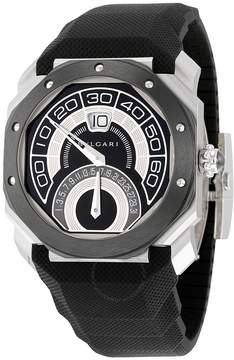 Bvlgari Octo Retrogradi Black Lacquered Dial Black Rubber Men's Watch
