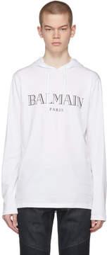 Balmain White Logo Hoodie
