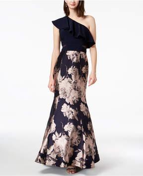 Xscape Evenings One-Shoulder Jacquard Mermaid Gown