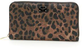 Dolce & Gabbana Textured Leopard Print Zip-around Wallet - NATURALE/NERO|BEIGE - STYLE