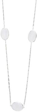 Elizabeth Showers Women's Long Silver & Milky Quartz Station Chain Necklace