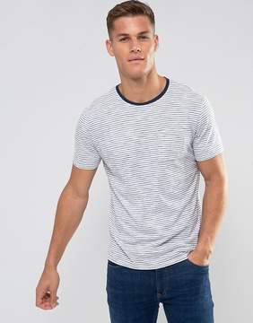 MANGO Man Striped T-Shirt In Navy And White