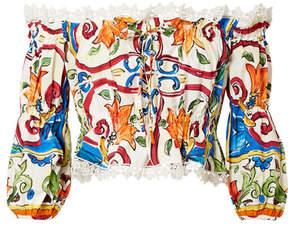 Dolce & Gabbana Maiolica Off-the-shoulder Printed Cotton-blend Poplin Top - White
