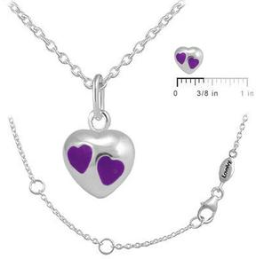 Ice Girls' Jewelry Silver Purple Enameled Heart Pendant Necklace (12-18 In)
