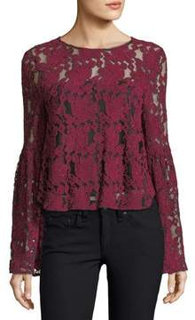 Cupcakes And Cashmere Florent Crewneck Bell-Sleeve Lace Blouse