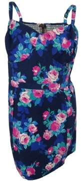 Jessica Simpson Women's Floral Print Sleeveless Dress (3X, Blue Blossom)