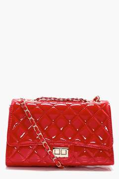 boohoo Patent Quilted Cross Body Bag