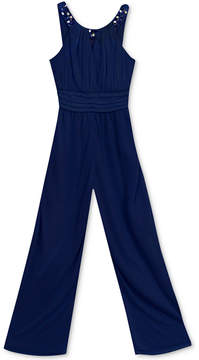 Rare Editions Beaded-Neck Jumpsuit, Big Girls