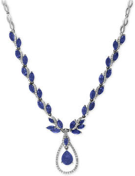Effy Royale Bleu Sapphire (10-1/2 ct. t.w.) and Diamond (9/10 ct. t.w.) Fancy Teardrop Statement Necklace in 14k White Gold, Created for Macy's