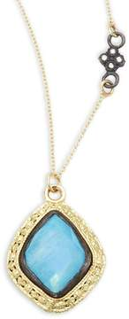 Armenta Women's Old World Champagne Diamond, Blue Turquoise, Rainbow Moonstone & 18K Goldplated Sterling Silver Pendant Necklace