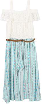 Speechless Girls 7-16 Cold Shoulder Lace Print Belted Walkthrough Dress
