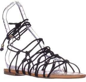 INC International Concepts I35 Gallena Flat Lace-up Sandals, Black.