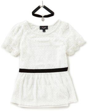 I.N. Girl Big Girls 7-16 Lace Short-Sleeve Top