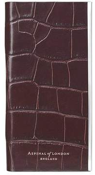 Aspinal of London Iphone 6 Leather Book Case In Deep Shine Amazon Brown Croc Stone Suede