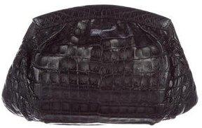 Nancy Gonzalez Pleated Crocodile Clutch