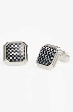 David Donahue Men's Mother Of Pearl & Onyx Cuff Links
